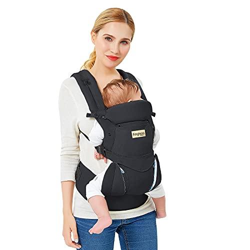 Babytrage Neugeborene Babytrage Ergonomische Reine Baumwolle Leicht und atmungsaktiv Einstellbar für Neugeborene von 0 bis 3 Jahren (3,5 bis 20 kg) Multiposition(Dorsal/Ventral) (Schwarz)
