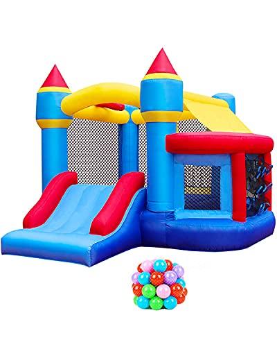 BESTPARTY Aufblasbares Hüpfhaus, Hüpfburg mit springendem Bällebad & Basketballkorb, aufblasbarer Hüpfball für Kinder, für Party, Ozeanbälle, Gebläse, Heringe, Tragetasche im Lieferumfang enthalten