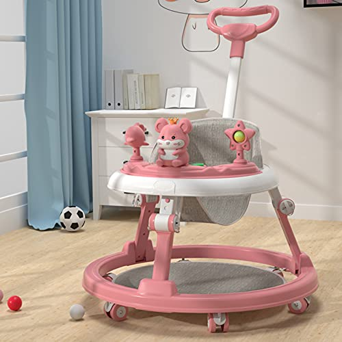 Lauflernhilfe Höhenverstellbar, Lauflernhilfe Klappbar mit Musik Spielzeug für Babys Ab 6 Monate, Multifunktionale Lauflernwagen, 360° Universalrad, Atmungsaktiver Leinensitz