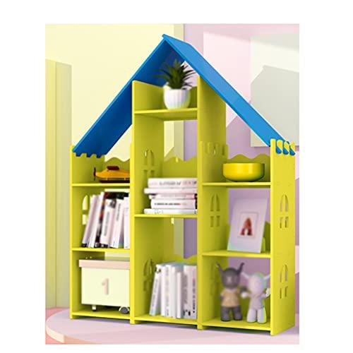 QWp Bücherregal Bücherregal Einfache Aufbewahrungsständer Buchregal Wohnzimmer Schlafzimmer Büro Lagerschrank Boden Bücherregal Multi Layer Rack Bücherregale (Color : Blue top on Yellow, Größe : B)