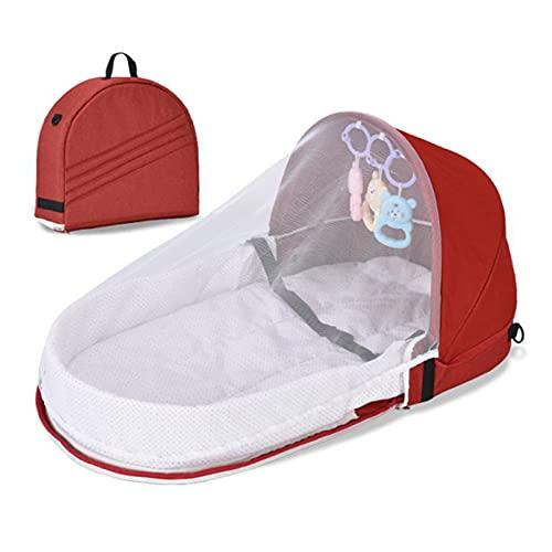 ANLIFL Tragbares Baby Reisebett, Faltbares Babybett mit Moskitonetz, Baby bis Kleinkind Tragbarer Stubenwagen, Atmungsaktiver Sonnenschutz Schlafkorb für Kleinkinder mit Spielzeug-B