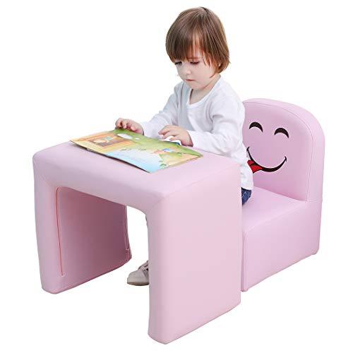 Multifunktional Kinder Sessel, Mode Life Kids Set Stuhl und Tisch/Hocker mit Funny Smile Face für Jungen und Mädchen (Rosa)