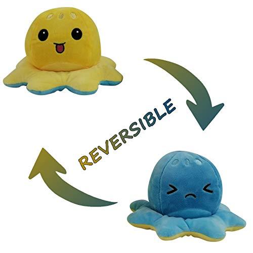 1 Stück Flip Plüsch Oktopus Spielzeug Puppe Doppelseitiger Flip Reversibel Sanft Tintenfisch Kinder Süß Tier Cartoon SpielzeugeGeschenk Kinderspielzeug