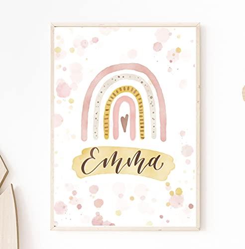personalisiertes Geburtsposter Regenbogen, Geburtsdatenblatt, Birthposter, Geschenke zur Geburt