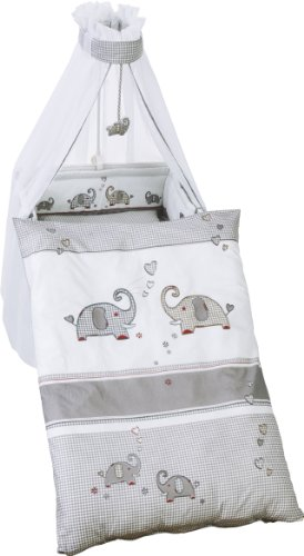 roba Kinder-Bettgarnitur 4-tlg, Babybett-Ausstattung 'Jumbotwins', Bettset 4-teilig: Bettwäsche 100x135 (Decke & Kissen), Nestchen, Himmel
