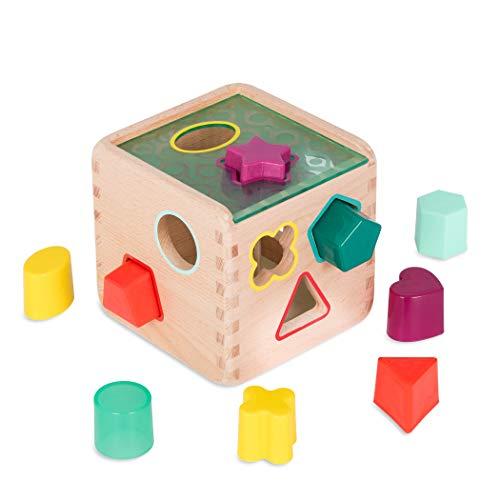 B. toys by Battat BX1763Z Formensortierspiel Holz – Steckwürfel Puzzle Motorikwürfel Spielwürfel Sortier Spielset Holzspielzeug-Baby Spielzeug ab 18 Monate