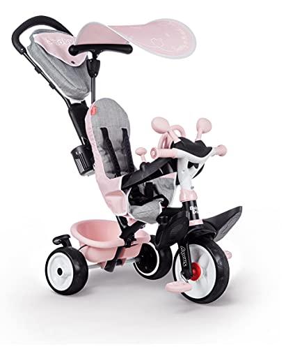 Smoby 741501 - Baby Driver Plus Rosa - 3-in-1 Kinder Dreirad, mitwachsendes Multifunktionsfahrzeug mit premium Ausstattung, für Kinder ab 10 Monaten