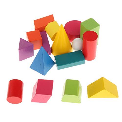 F Fityle 16 Stück Holzblöcke BAU BAU Spielzeug Set Stapelsteine Brettspiele