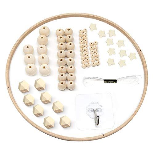 DIY Holz Mobilen Rahmen,Beads Baby Mobile,Mobile Basteln,mobile rahmen holz,Natürliche Handwerk Holz Ringe,Kinder Bettglocke,Kinderzimmer Hängende Bettglocke Mobile für Babybett(A)
