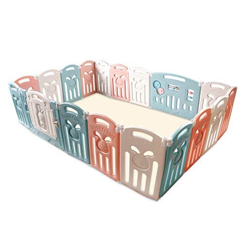 CCLIFE Laufgitter Laufstall Baby Absperrgitter Faltbar Groß Krabbelgitter kunststoff Schutzgitter Babyzaun mit Tür und Spielzeug indoor outdoor
