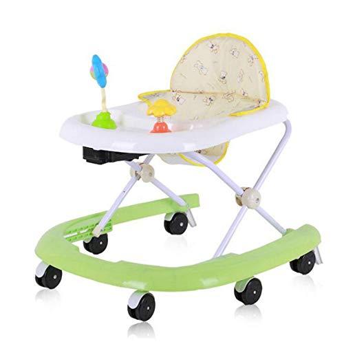 OMKMNOE Lauflernhilfe, Baby Walker Gehfrei Laufhilfe Mit Spielzeugen Lauflernwagen Laufstuhl Höhenverstellbar Klappbar Gehfreiautoförmige Lauflernhilfe,Grün