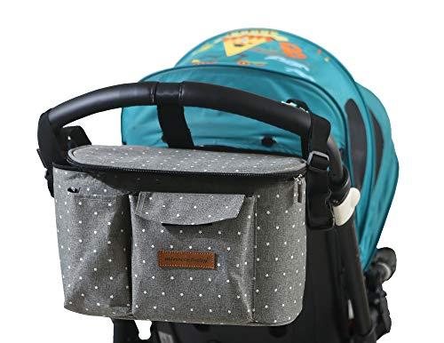 Buggy Kinderwagen Organizer Kinderwagentasche Wickeltasche Wickelrucksäcke Baby Universale Multifunktionale Aufbewahrungstasche 31X16X18CM(Grauer Stern)