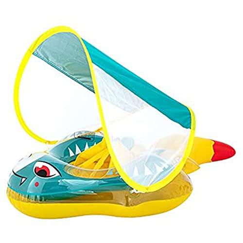 TTDD Baby-Schwimmfloat, aufblasbarer Schwimmring mit Abnehmbarer Sonnenschutz-Baldachin, schwimmender Ring-Set, Cartoon-Schwimm-Pool-Float für 3 Monate - 6 Jahre alte Kin
