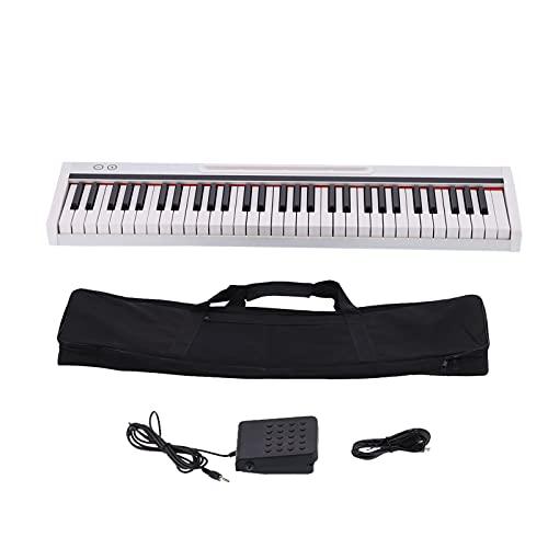 61 Tasten 128 Töne Elektronisches Keyboard Tragbares Digitalpiano Drahtlos Verbinden Lichtaufnahmefunktion für Anfänger Profis Kinder Erwachsene
