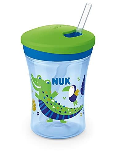 NUK Action Cup Trinkbecher Kinder | Chamäleon Effekt | 12+ Monate | Drehdeckel mit weichem Strohhalm | auslaufsicher | BPA-frei | 230 ml | Krokodil, grün, 120 g