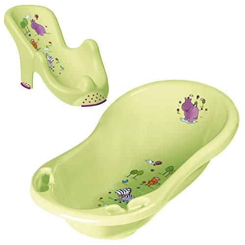 Keeeper 2-teiliges Badeset | Babybadewanne Maria 84 cm mit Stöpsel + anatomischer Babybadesitz Leon Hippo lime green
