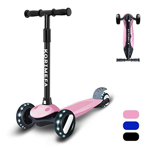 KORIMEFA Kinderscooter Kinderroller mit 3 LED Räder Kinder Roller für Kleinkind 2-8 Jahre Sperrbare Richtung Verstellbare Lenkerhöhe Belastbarkeit bis 50 kg