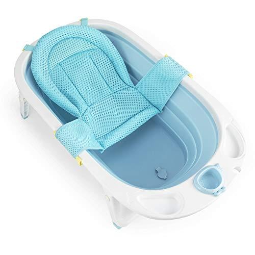 Fascol Faltbar Babybadewanne, Kinderbadewanne mit Sicherheitsbadesitz und Ablaufstöpsel, Badewanne Länge 82cm, 0-36 Monate (Hellblau)