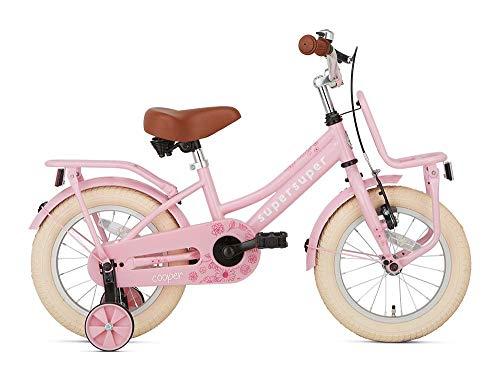 POPAL SuperSuper Cooper Kinder Fahrrad für Kinder | Mädchen Fahrrad 14 Zoll ab 3-5 Jahre| Kinderrad met Stützrädern | Rosa
