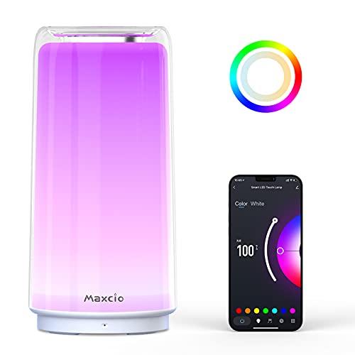 Maxcio Smarte LED Nachttischlampe, Touch Dimmbare Tischlampe Kompatibel mit Alexa, Google Home, Nachlicht mit Timing Funktion, RGB+CW+WW 2700K-6500K, für Schlafzimmer Kinderzimmer, mit Stecker