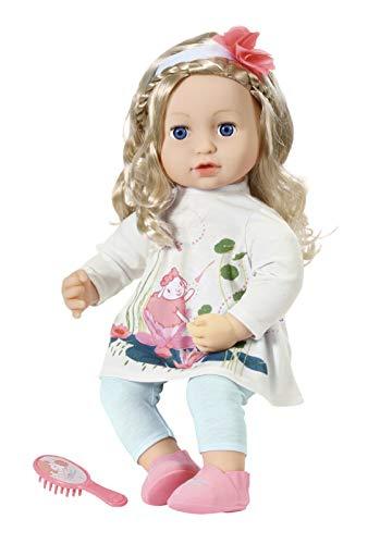 Zapf Creation 706381 Baby Annabell Sophia 43 cm - weiche Puppe mit langen Haaren, Haarband, Haarbürste, Puppenkleid und Puppenleggins