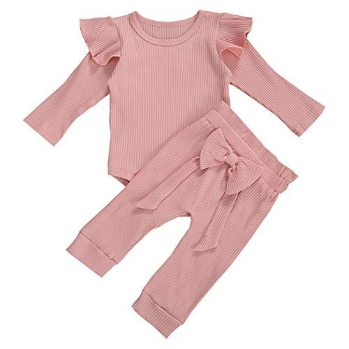 Geagodelia Babykleidung Set Baby Mädchen Kleidung Outfit Langarm Body Strampler + Hose Neugeborene Weiche Einfarbige Babyset T-45461 (Pink, 0-6 Monate)