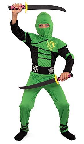 Magicoo Ninja Kostüm Kinder Jungen Gr 92 bis 140 Grün - Fasching Kinder Ninja Kostüm für Kind (134/140)