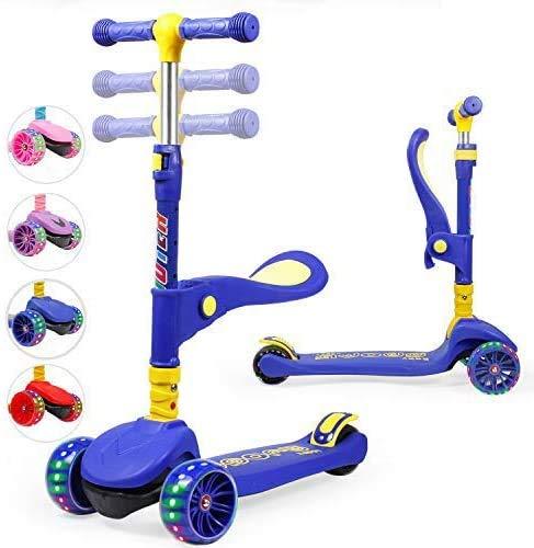 TX Kinderroller Scooter,Kinder Roller mit Abnehmbarem Sitz und PU LED große Leuchtenden Räder, 3 Höhenverstellbarer und Falten Lenker Kinderscooter für Kinder ab 2-10 Jahre-Blau