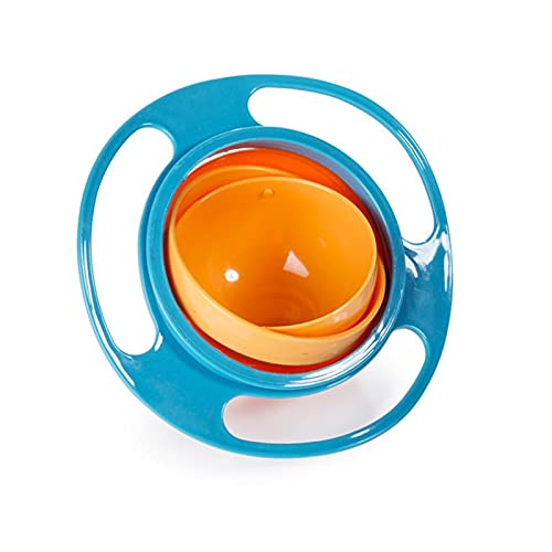 LUBINGT Baby Brei-Schale Baby Fütterung Spielzeug Schüssel Gerichte Kinder Jungen Mädchen Spill Beweis Universal Rotate Technologie Lustige Geschenk Baby Zubehör (Color : Blue)