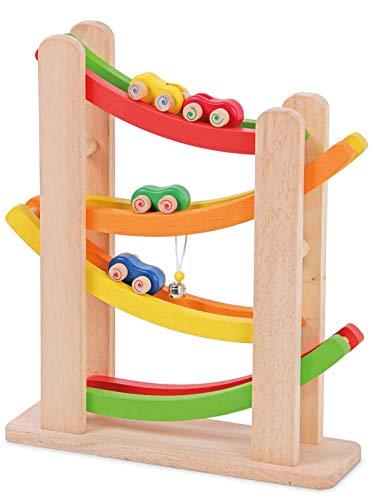 Spiel AG Kugelbahn aus Holz Rollbahn mit Autos und Glöckchen