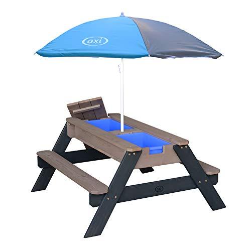 AXI Nick Kinder Sand & Wasser Picknicktisch aus Holz   Wasserspieltisch & Sandtisch mit Deckel und Behältern   Kindertisch / Matschtisch in Grau mit Sonnenschirm für den Garten