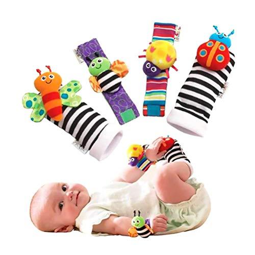 COTTILE Baby Rasseln Socken Spielzeug Rasselsocken Cute Animal Infant Baby Plüschtiere Tierbaby Handgelenk Rasseln Und Fuß Finder Set Entwicklungs-Spielzeug
