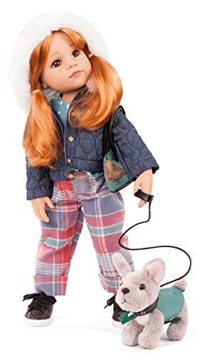 Götz 2159097 Hannah und Ihr Hund - and her Dog - 50 cm große Stehpuppe, rote Haare und braunen Augen - 10-teiliges Set