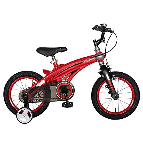 LANQ Kinderfahrrad W1439D 14 Zoll C-Bremsbremsen 3-5 Jahre Alt Kinder Fahrrad (Rot-Schwarz)