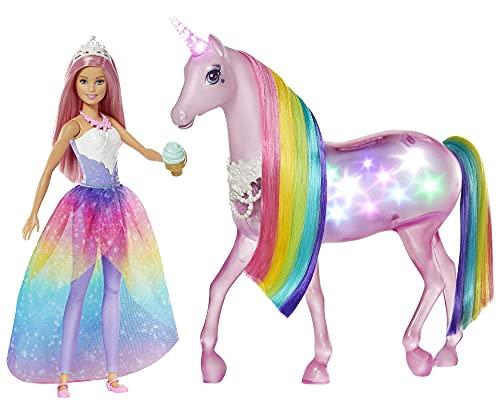 Barbie GWM78 - Dreamtopia Magisches Zauberlicht Einhorn mit Berührungsfunktion, Licht und Sound, Puppen Spielzeug und Puppenzubehör ab 3 Jahren, Reduzierte Verpackung