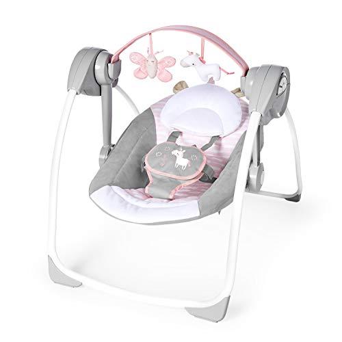 Ingenuity, Flora the Unicorn, tragbare Babyschaukel mit 6 Schaukelgeschwindigkeiten, 3 Zeitschaltuhreinstellungen, 12 beruhigende Melodien und mehr