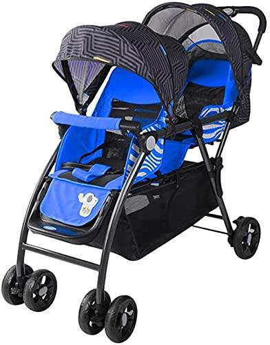 Doppel-Kinderwagen / Doppel-Babywagen, sitzend und vorwärts, leichter Kinderwagen mit verstellbarer Rückenlehne, erweiterte Version (Farbe: Blau)