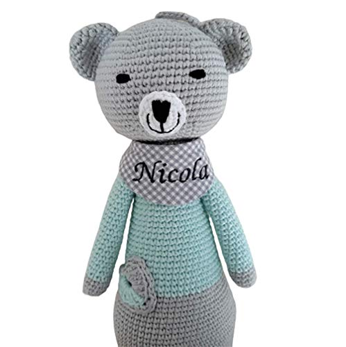 ds-handmade handgefertigte Baby Spieluhr - mit Namen personalisierte Baby Geschenke Junge - Teddy - Melodie : weißt Du wieviel Sternlein - 24 cm - Grau/Mint