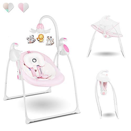 Lionelo Robin Baby Wippe Babyschaukel Elektrisch mit Liegefunktion Baby Schaukel 0 bis 9 kg Moskitonetz 12 Melodien 8 Schaukelgeschwindigkeiten Spieluhr mit Lichtprojektor (Rosa)