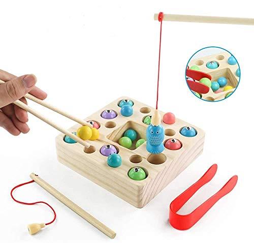 Angelspiel Holz Kinder Holzspielzeug Montessori Spielzeug 3 in 1 Angeln Magnetische Montessori Pädagogisches Spielzeug Ostern Geschenk Spiel mit Angelrute Fischspiel für Jungen Mädchen ab 2 3 Jahre