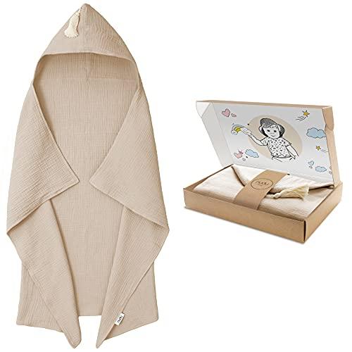 nudu Baby Kapuzenhandtuch - Handtuch Badetuch Babyhandtuch - 100% Bauwolle Musselin - Geschenk zur Geburt fü Mädchen & Junge in Beige / Taupe