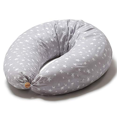Niimo Stillkissen Schwangerschaftskissen zum schlafen groß XXL erwachsene mit Bezug aus 100% Baumwolle für Mutter und Baby (Grau-Weiße Sterne)