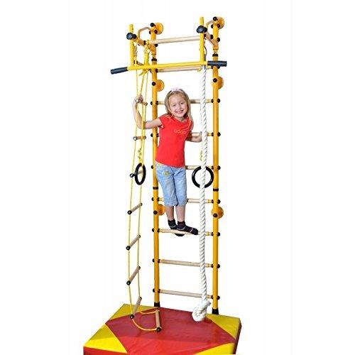 NiroSport FitTop Indoor Klettergerüst für Kinder Sprossenwand für Kinderzimmer Turnwand Kletterwand, TÜV geprüft, kinderleichte Montage, max. Belastung bis ca. 130 kg, Made in Germany (Rot, Raumhöhe 220-270 cm)