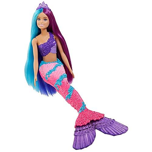 Barbie GTF39 - Dreamtopia Regebogen Meerjungfrau mit extralangen Fantasiehaaren in zwei Farben, Haarbürste, Diademen und Stylingzubehör, Geschenk für Kinder von 3 bis 7 Jahren