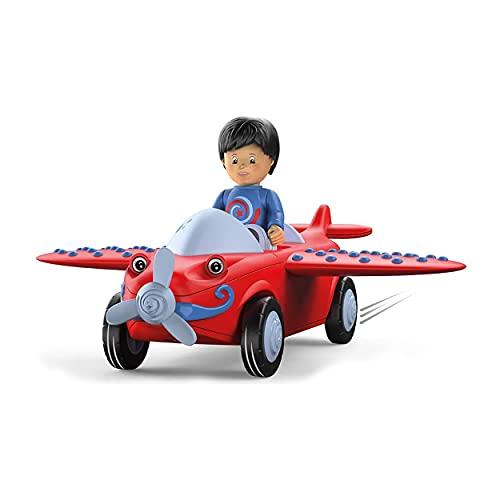 Toddys by siku 0116, Leo Loopy, 3-teiliges Flugzeug mit Licht und Sound, Zusammensteckbar, Inkl. beweglicher Spielfigur, Hochwertiger Schwungradmotor, Rot/Grau, Ab 18 Monaten