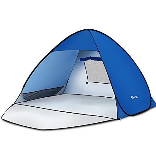 Glymnis Strandmuschel Pop Up Strandzelt Strand Zelt mit Reißverschlusstür UV-Schutz 50+ Windschutz kleines Packmaß Blau Strandzelt für 2-4 Personen