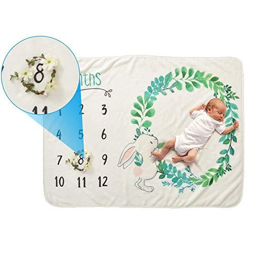 IWILCS Baby Monatliche Decke, Meilenstein Matten, Neugeborenen Foto Decke, Fotografie Hintergrund Prop, Baby Alter Decken aus Flanell, für Jungen & Mädchen, Mit Kleinem Kranz (70 * 102cm)