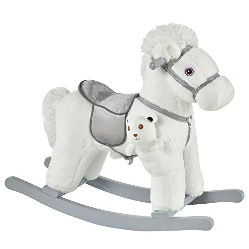 HOMCOM Kinder Schaukelpferd Baby Schaukeltier mit Tiergeräusche Spielzeug Haltegriffe für 18-36 Monate Plüsch Weiß 65 x 26 x 55 cm