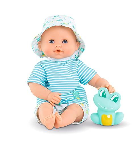 Corolle Mon Premier Poupon Badejunge Marin / Weichkörper-Badepuppe mit Badetier / Schlafaugen / Vanilleduft / abnehmbare Kleider / 30cm / Für Kinder ab 18 Monaten geeignet / Behält den Daumen im Mund