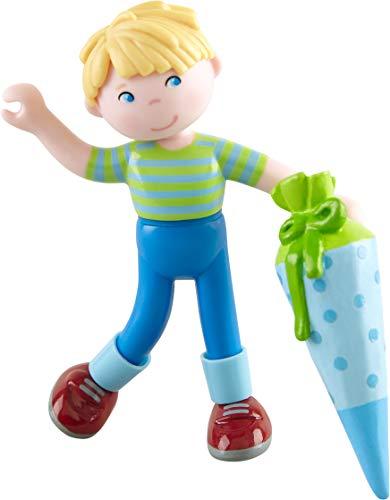 HABA 304747 - Little Friends – Sebastian, Minipuppe ab 3 Jahren, mit Schultüte, aus strapazierfähigem Kunststoff für lange Spielfreude